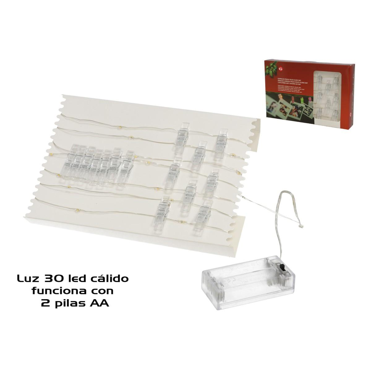 30 Led Carldo Filo con mollettine 3mt