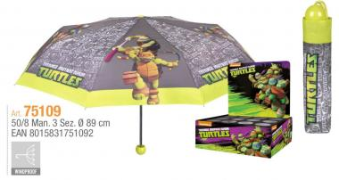 Ombrello Mini Manuale 50 cm antivento Ninja Turtles